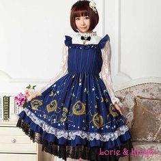 Japanese Sweet Girl Star & #Moon Print #JSK #Lolita Dress #Princess Party Dress with Shoulder Straps
