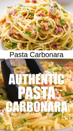 Authentic Pasta Carbonara is easy to make. Authentic Pasta Carbonara is easy to make full of bacon flavor and smothered in a cheesy egg sauce that will make you crave more. Your family will love this easy weeknight dinner! Side Dish Recipes, Easy Dinner Recipes, Best Dinner Recipes Ever, Chicken Recipes, Soup Recipes, Egg Recipes, Angle Hair Pasta Recipes, Low Fat Pasta Recipes, Recipes With Bacon
