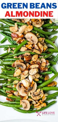 Green beans sautéed with buttery toasted almonds is a classic French side dish that's simple to prepare, yet elegant enough for a fancy dinner. Green Beans Almondine — or as the French say, haricots vert amandine — are usually reserved for holiday entertaining, but these delicious green beans with almonds, shallots, and mushrooms deserve to be enjoyed year-round! #farmersmarketweek French Side Dishes, Best Side Dishes, Healthy Side Dishes, Vegetable Side Dishes, Side Dish Recipes, Zucchini Vegetable, Roasted Vegetable Recipes, Grilled Vegetables, Dinner Dishes