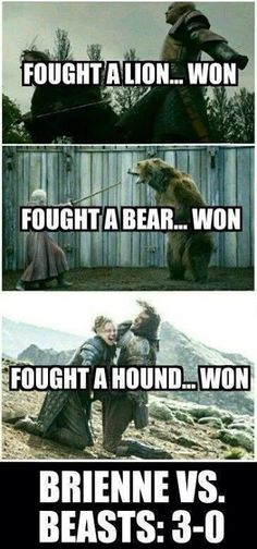 Game of Thrones funny memes Game Of Thrones Quotes, Game Of Thrones Funny, Game Of Thrones Brienne, Game Of Thrones Facts, Valar Dohaeris, Valar Morghulis, Winter Is Here, Winter Is Coming, Brienne Von Tarth