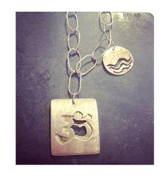 Custom necklace: handmade chain, namaste charm & wave charm. ( Melissa Loves)