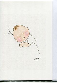 New baby card- Baby on Mum's shoulder. By Heather Tatum. #New baby #Baby cards https://www.etsy.com/uk/shop/HeatherTatumCards#Baby shower