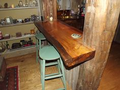 Pine slab bar top. Tom Spivak