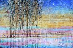 Items similar to River landscape Original painting Poplar trees Autumn White Night Modern Abstract Wall Art *AMAZING effect* by Calina Lefter on Etsy Poplar Tree, Pinterest Board, Abstract Wall Art, Sell On Etsy, Etsy Store, Contemporary Art, Original Paintings, Shops, Trees