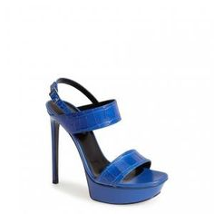 40% off Saint Laurent - Sandals Bianca Platform Leather Royal Blue - $656.98