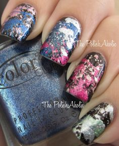 The PolishAholic: Color Club Foiled Collection Splatter Mani