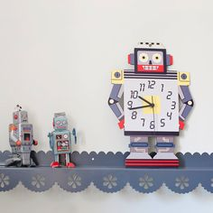Kids Clock  Boys room decor/ Grey and yellow  Robot by GalaStudio