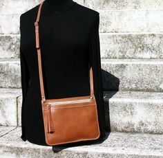 Leather crossbody purse small crossbody bag brown bag by BogaBag, $43.00