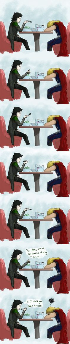 Loki and Thor go out for ice cream. Thor also ate a lot more then his little brother. LOVE THIS!!!!!!
