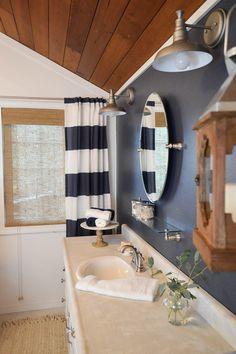 DIY Home Improvement - Navy Blue Cottage Bathroom Makeover
