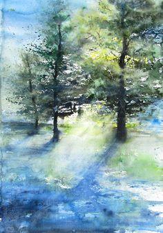 Young Oak Trees Watercolor 34cm x 53cm