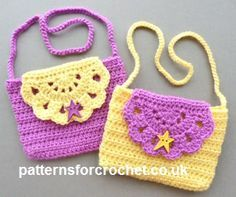 FREE crochet pattern for the Child's Purse by Patterns For Crochet. The finished size measures 6 by 4.5 inches.