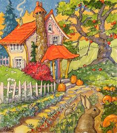 """""""Early Autumn Bounty Enough For Everyone Storybook Cottage Series"""" original fine art by Alida Akers"""