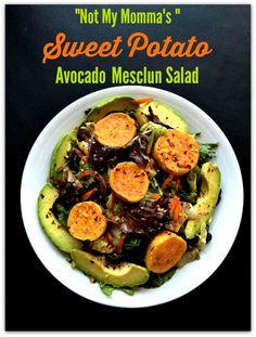 "Vegan MoFo Day #2: ""Not My Momma's "" Sweet Potato Avocado Mesclun Salad #VGNMF15"