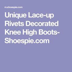Unique Lace-up Rivets Decorated Knee High Boots- Shoespie.com