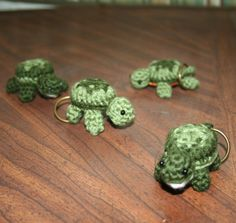 you know you want one... or two or four  :)    Tiny Turtle Key Rings. $5.00, via Etsy.