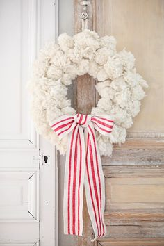 yarn pom pom christmas wreath