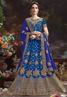 Utsav - Embroidered Dupion Silk Circular Lehenga in Blue | $229.53