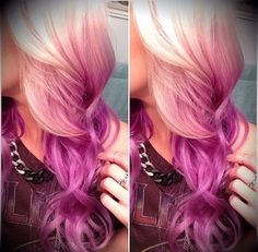 Pink And Lilac Reverse Ombre Hair