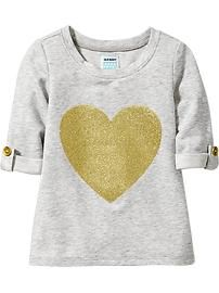 Glitter-Graphic Tunic Tops for Baby