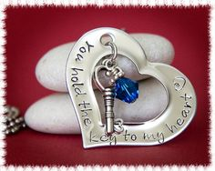 Hand Stamped Jewelry  Heart and Key Pendant  by PoppyDrops on Etsy, $35.00