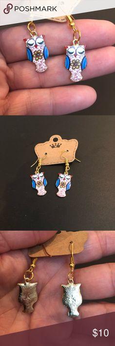 New enameled Owl dangle earrings Cute enameled - New Owl earrings Jewelry Earrings