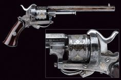 A beautiful pin-fire revolver. provenance: Europe dating: third quarter of the 19th Century