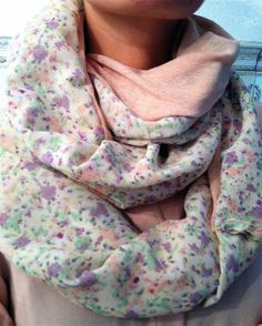 Floral/Solid Circle Scarf or Made to Order by VintageWillows, $10.00