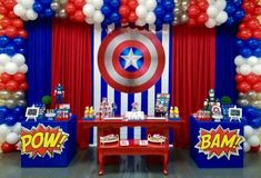 Fiesta temática de Capitán América Avengers Birthday, Superhero Birthday Party, 2nd Birthday Parties, Birthday Party Decorations, Captain America Party, Captain America Birthday, Anniversaire Captain America, Little Man Party, American Party