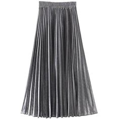 Women's Fashion Flash Metallic Pleated Skirts (50 PEN) ❤ liked on Polyvore featuring skirts, pleated skirt, knee length pleated skirt, silver pleated skirts, metallic pleated skirt and silver metallic skirt