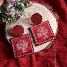 Wooden warli tree of life earring 1 - Art Jewelry Women Accessories Saree Jewellery, Handmade Jewellery, Handcrafted Jewelry, Ceramic Jewelry, Wooden Jewelry, Polymer Clay Jewelry, Tree Of Life Earrings, Diy Earrings, Handmade Accessories