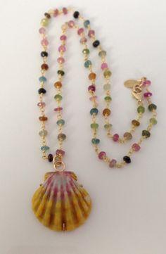 Hawaiian Sunrise Shell necklaceTourmaline Bead by SeaDaisyJewelry, $225.00