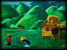 """Chocolate Hills Bohol, Philippines"" https://www.facebook.com/EjR.Art - Painting by Rina Sinajon/EjRnSinajon Art in My Diary at touchtalent 38621"