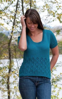 Free knitting pattern for Lace Top-Down T-Shirt