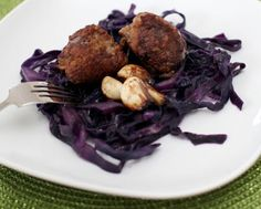 Marcus Samuelsson's Reindeer meatballs with glazed garlic confit and red cabbage