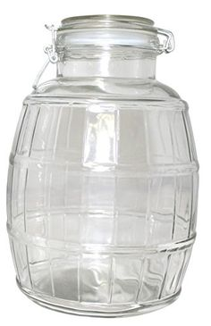 Gourmet Home Products Barrel Glass Storage Container Jar with Flip Top Lid 140 oz Clear * More info could be found at the image url.