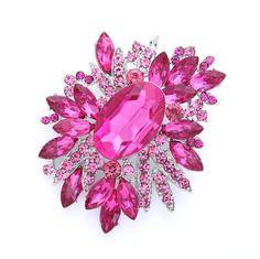 Rhinestone Pink Brooch Bridal Bridesmaid Prom Dress Magenta Fuchsia Pink Brooches Cake DIY Jewelry Big Crystal Pink Broach