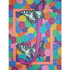 "large initial art print ""Butterfly J"" alphabet 11 reproduction Initial Art, Monogram Letters, Letters And Numbers, J Alphabet, Butterfly Artwork, Letter J, Sign Printing, Initials, Handmade Gifts"