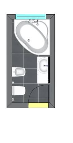 Risultati immagini per bagno piccolo rettangolare misure con vasca ...