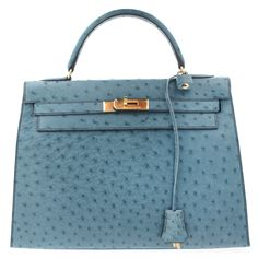 32cm Kelly Blue Osterich skin with gold hardware