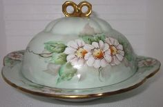 Antique Victorian Painted Daisy Flower Porcelain Lid Butter Dish w/tab handles $139.99