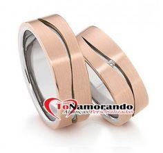 Alianças de casamento e noivado Ouro Branco 18k 750 Ouro Rosé 18k 750 Gold Wedding Rings, Rose Gold, Silver Anniversary, Cushion Wedding Bands, Brides, Weddings, Hand Crafts