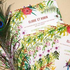 Ambiance tropicale paper papier aquarelle fairepart mariage wedding naissance bapteme boutique tropical