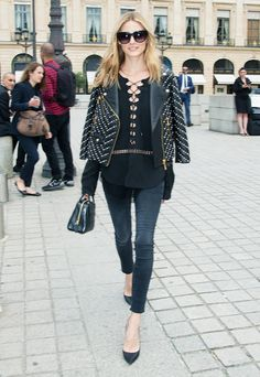 On Olivia Palermo: Rebecca Minkoff Pearl Embellished Wes Moto Jacket ($800); Jonathan Simkhai Lace Up Crepe Peplum Top ($395); Black Orchid Noah Ankle Fray Stay Black ($84); Perverse Krasa ($45);...
