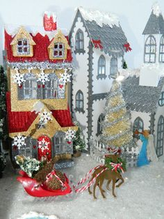 All mine designs, by Sharon Smith, Tim Holtz inspired, paper Christmas houses using all so Tim's house dies 2016