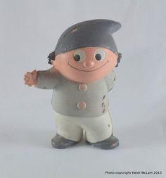 """Vintage Mainzelmännchen German Cartoon Character """"Fritzchen"""" Rubber Figurine-Rare!"""