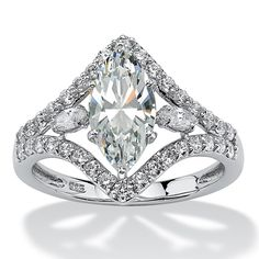 Everyone will remark how unusually beautiful this ornate marquise-cut ring is. Set in a diamond shape with pear and rouPrice - $79-SyUMkkzx