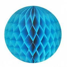 Decoratie:  honeycomb papieren bol aqua (ook in rood)