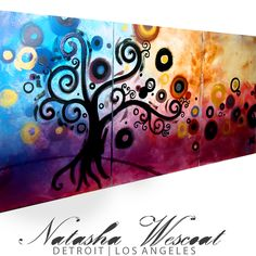 Abstract ORIGINAL Contemporary 3 piece Painting TREE landscape Natasha Wescoat | eBay $600