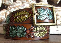 """Hand-painted Leather Belt, floral pattern, 1.5"""" wide"""
